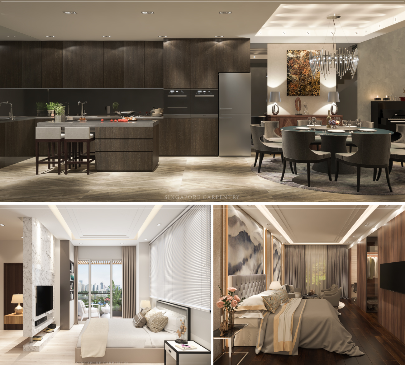 Modern Oriental Design Bedrooms, Kitchen and Dining area interior design at Kew Cresent