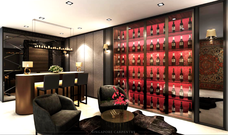 Ocean Drive Living Room with Luxury Bar and Wine Display