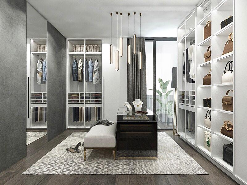 walk in wardrobe interior design render singapore