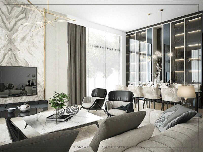 marble feature wall living room renovation luxury interior design landed property