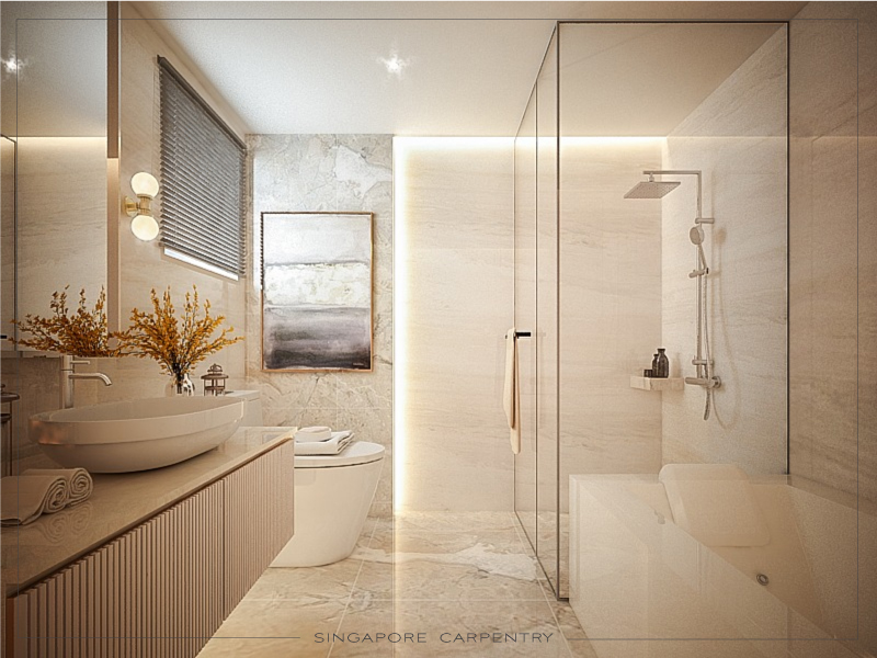 Brightly lit bathroom, classy and aesthetic