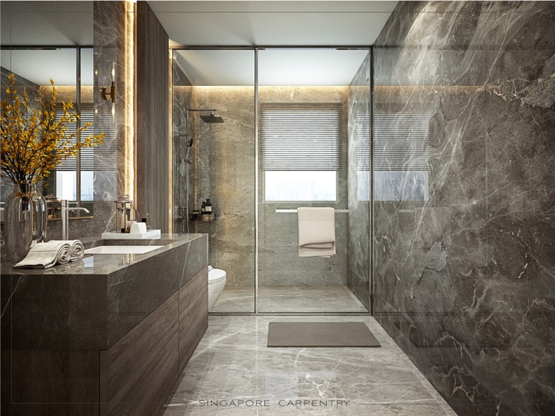 Elegant, classic bathroom, modern living